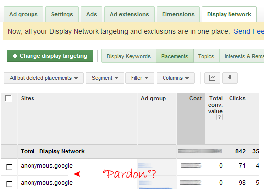 AdWords anonymous URLs