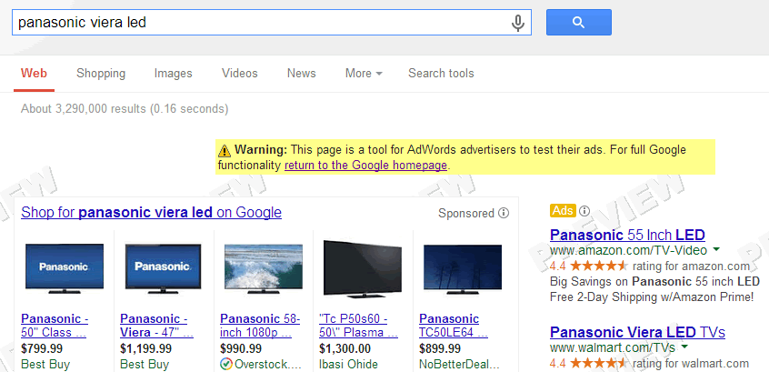 Adwords ad extensions showing in the Ad Preview Tool